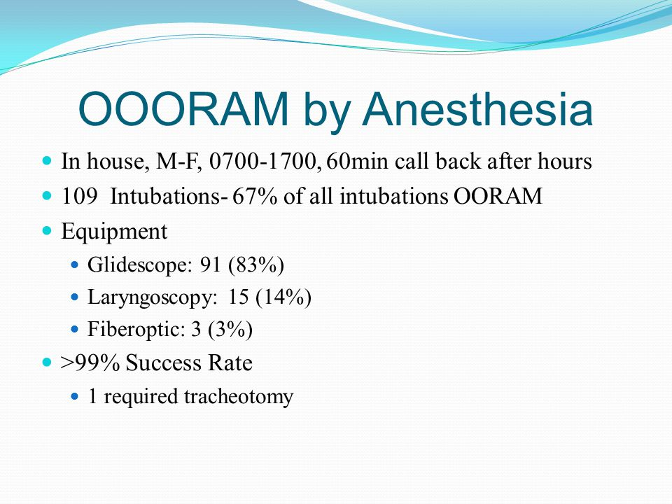 OOORAM by Anesthesia In house, M-F, 0700-1700, 60min call back after hours. 109 Intubations- 67% of all intubations OORAM.