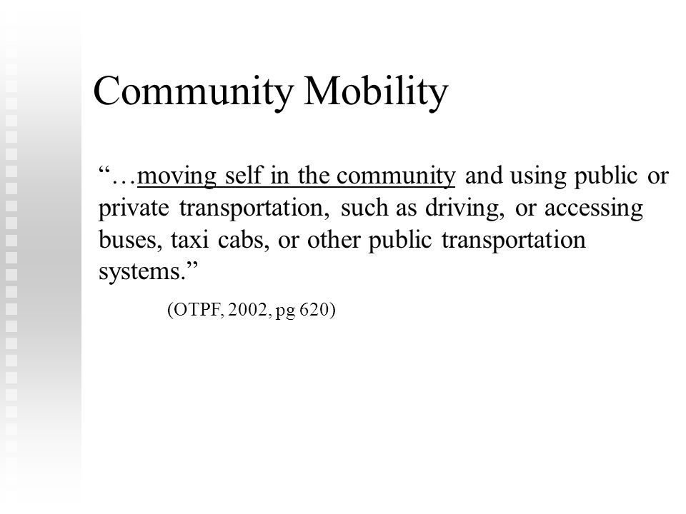 FLOTA Conference Febuary 8, 2009. Community Mobility.