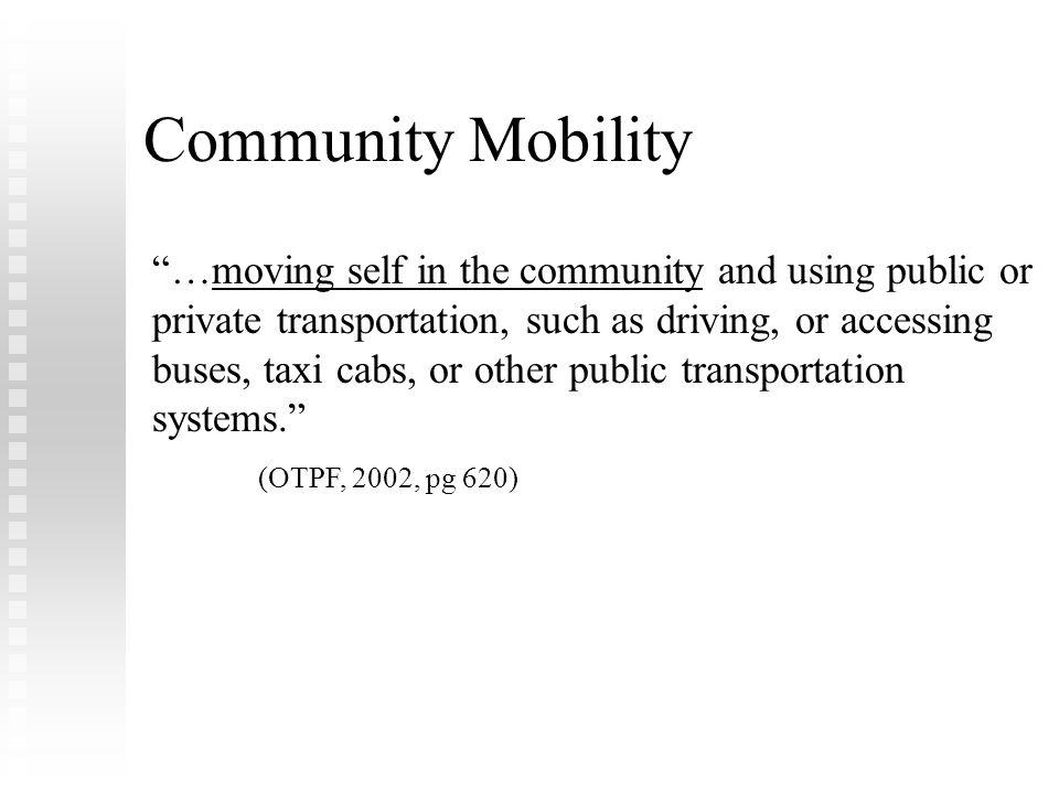 FLOTA Conference Febuary 8, 2009. Community Mobility.