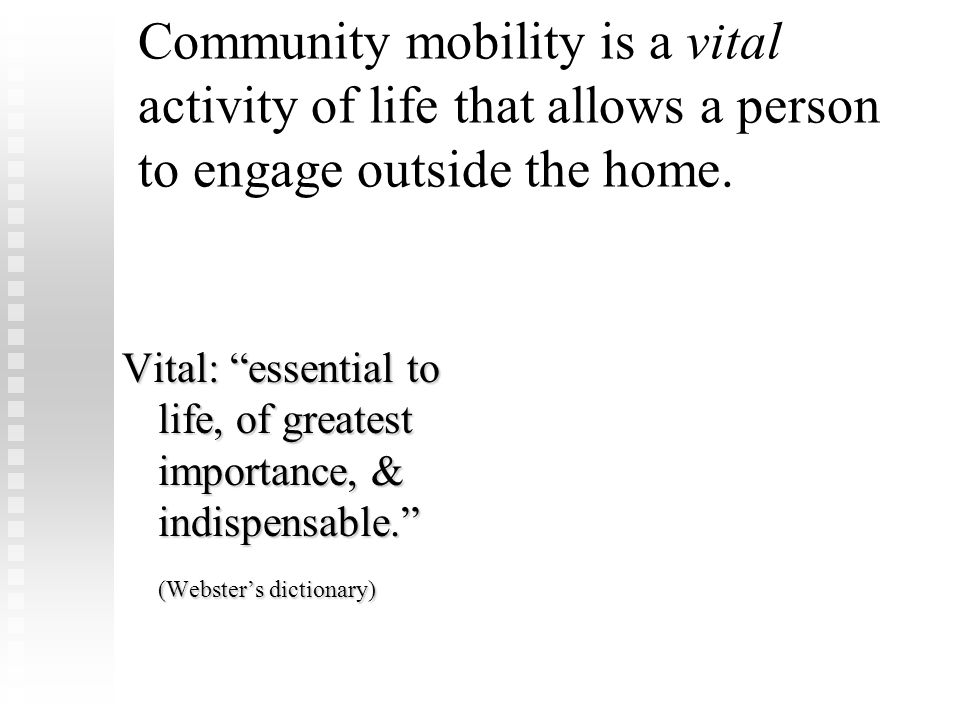 FLOTA Conference Febuary 8, 2009. Community mobility is a vital activity of life that allows a person to engage outside the home.