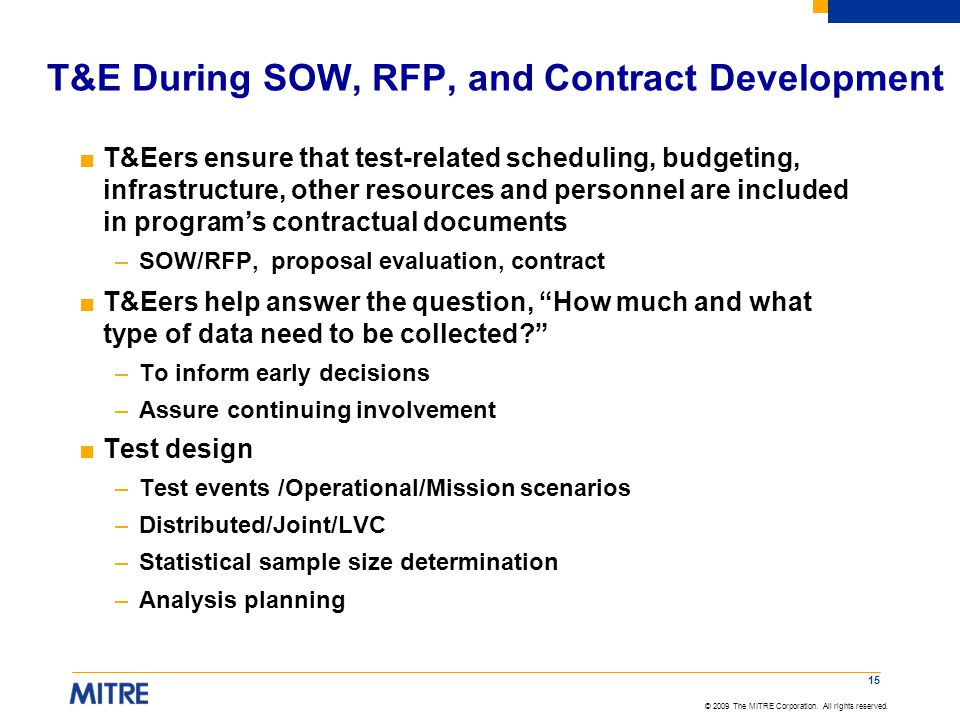 T&E During SOW, RFP, and Contract Development