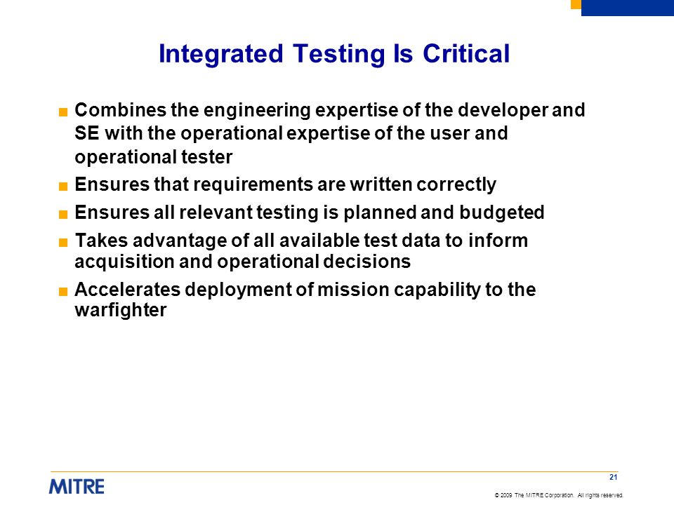 Integrated Testing Is Critical