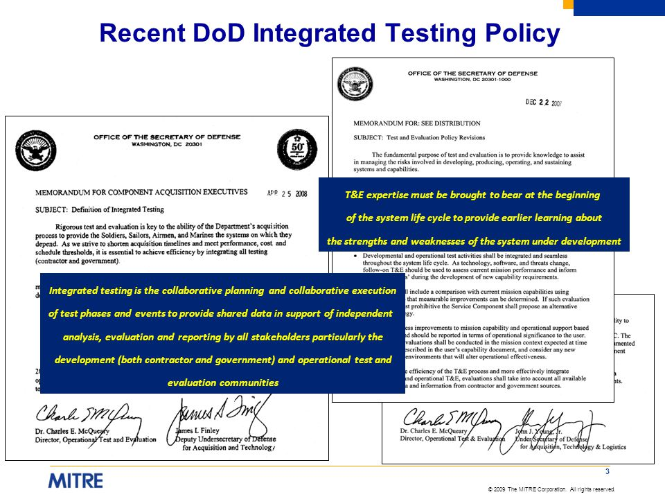 Recent DoD Integrated Testing Policy