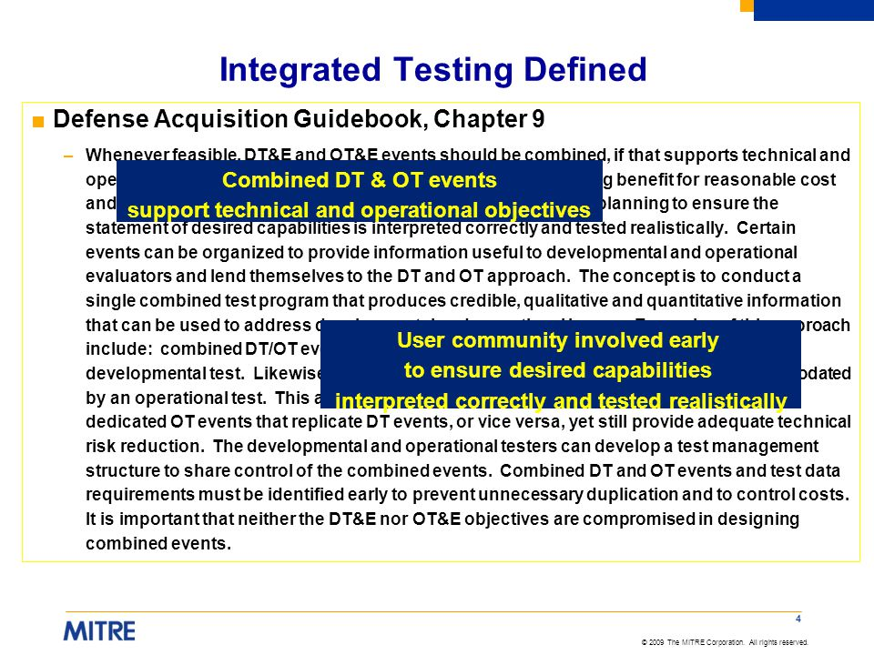 Integrated Testing Defined