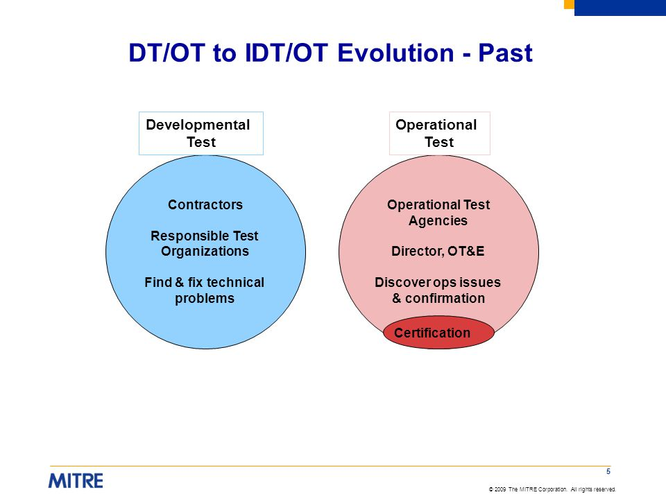 DT/OT to IDT/OT Evolution - Past