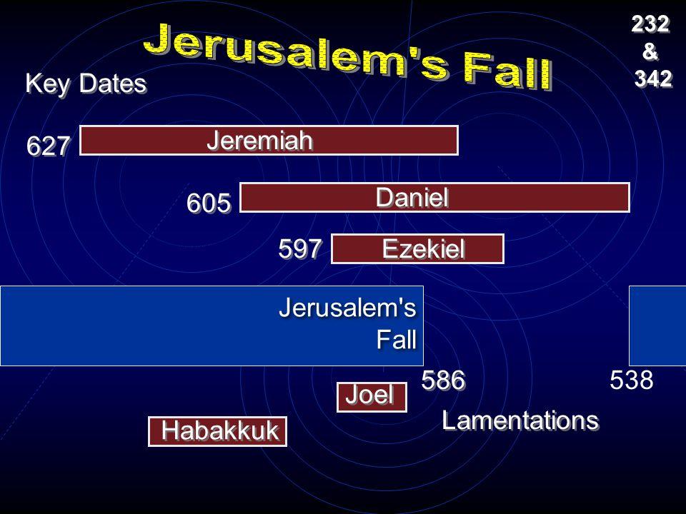 Jerusalem s Fall Key Dates Jeremiah 627 Daniel 605 597 Ezekiel