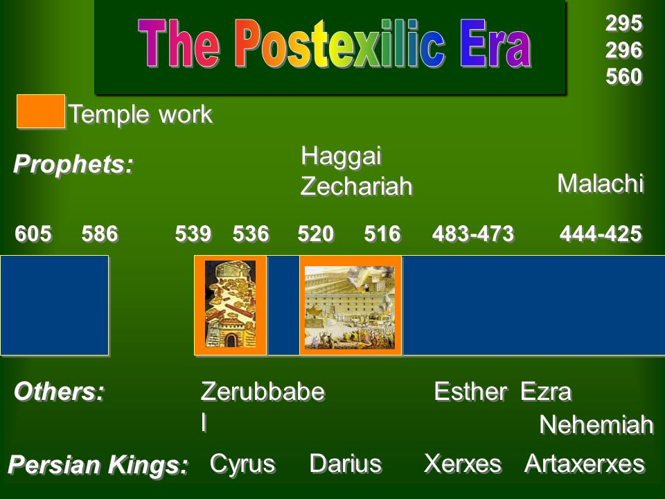 The Postexilic Era Temple work Haggai Prophets: Zechariah Malachi