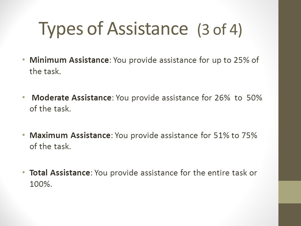 Types of Assistance (3 of 4)