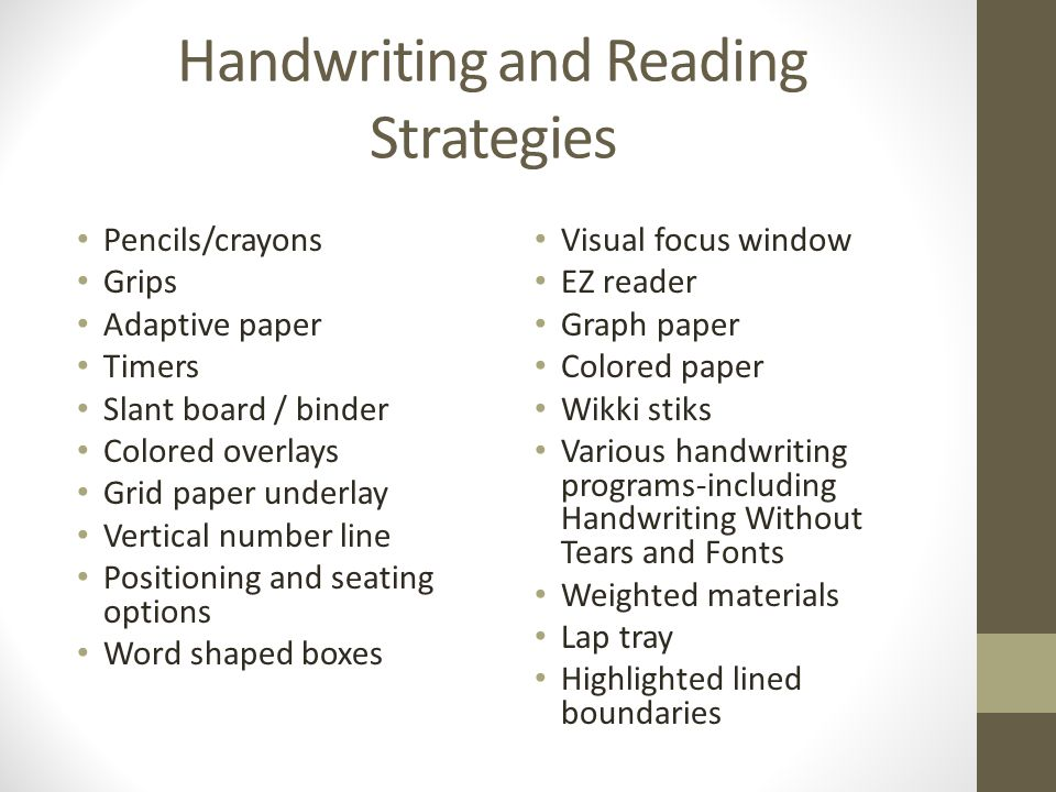 Handwriting and Reading Strategies
