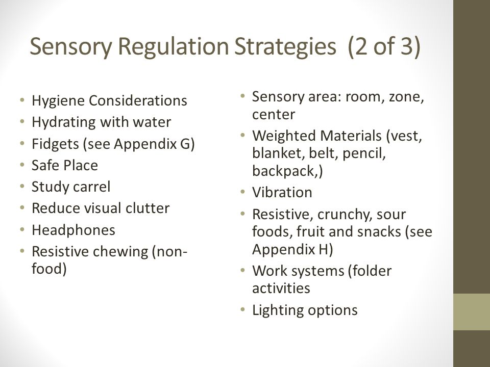 Sensory Regulation Strategies (2 of 3)