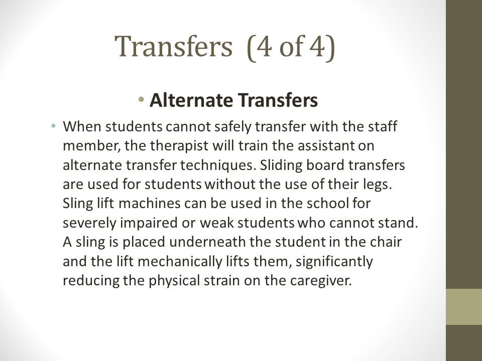 Transfers (4 of 4) Alternate Transfers