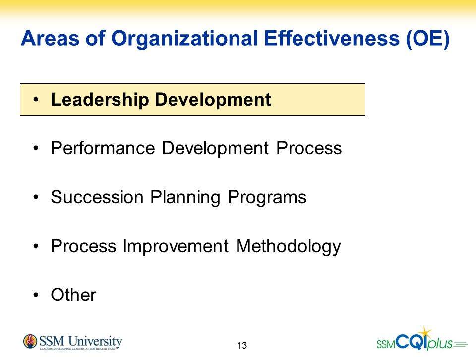 Areas of Organizational Effectiveness (OE)
