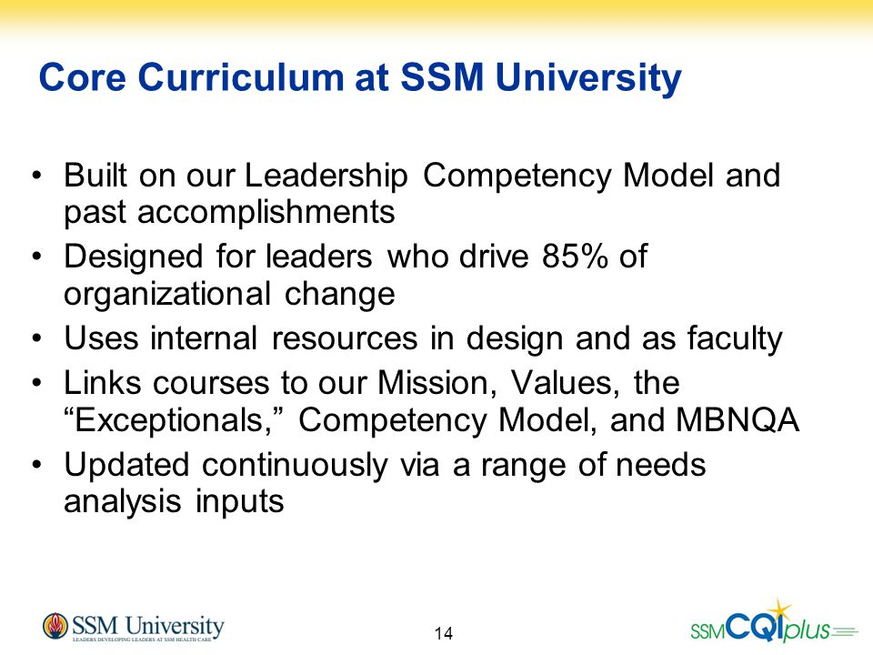 Core Curriculum at SSM University