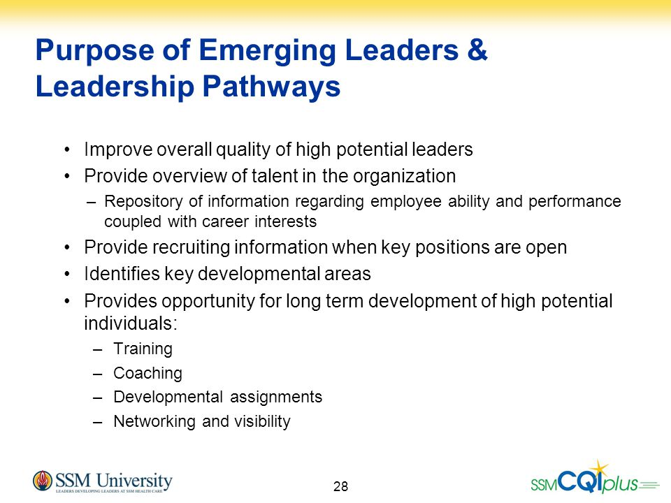 Purpose of Emerging Leaders & Leadership Pathways