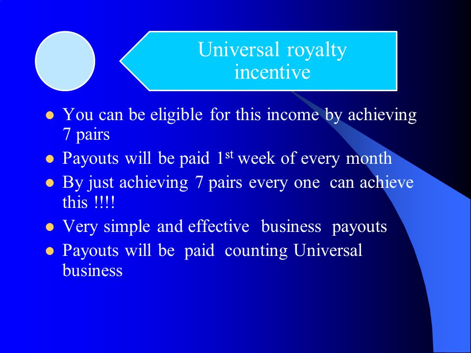Universal royalty incentive