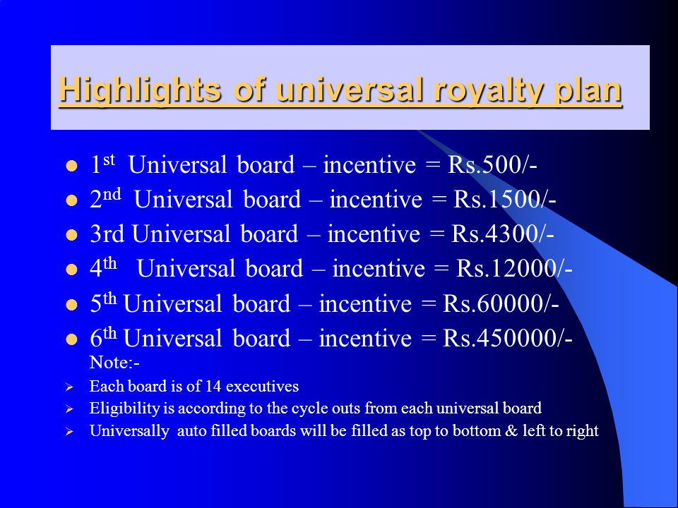 Highlights of universal royalty plan