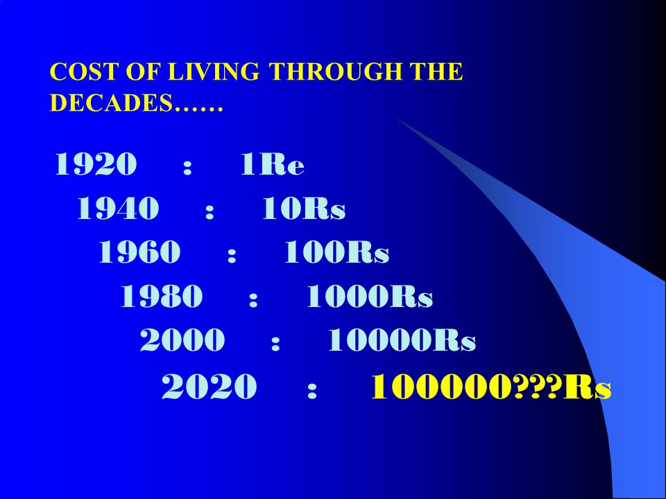 COST OF LIVING THROUGH THE DECADES……