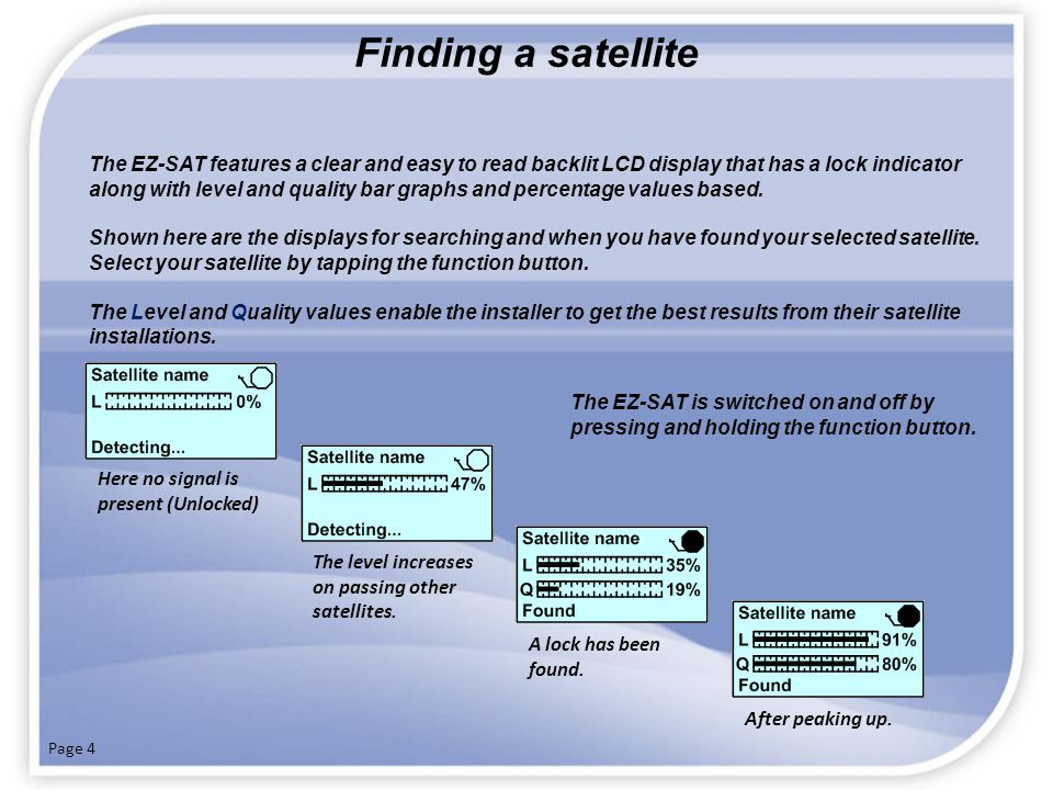 Finding a satellite