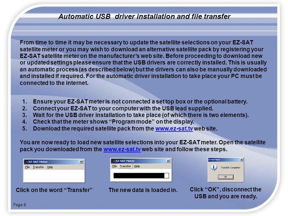 Automatic USB driver installation and file transfer