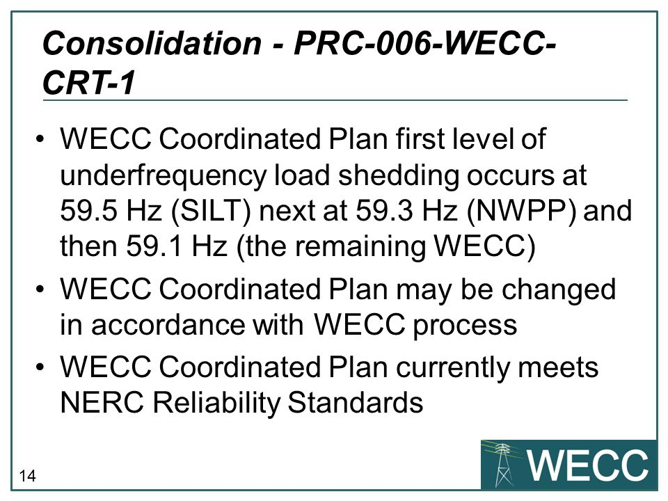 Consolidation - PRC-006-WECC-CRT-1