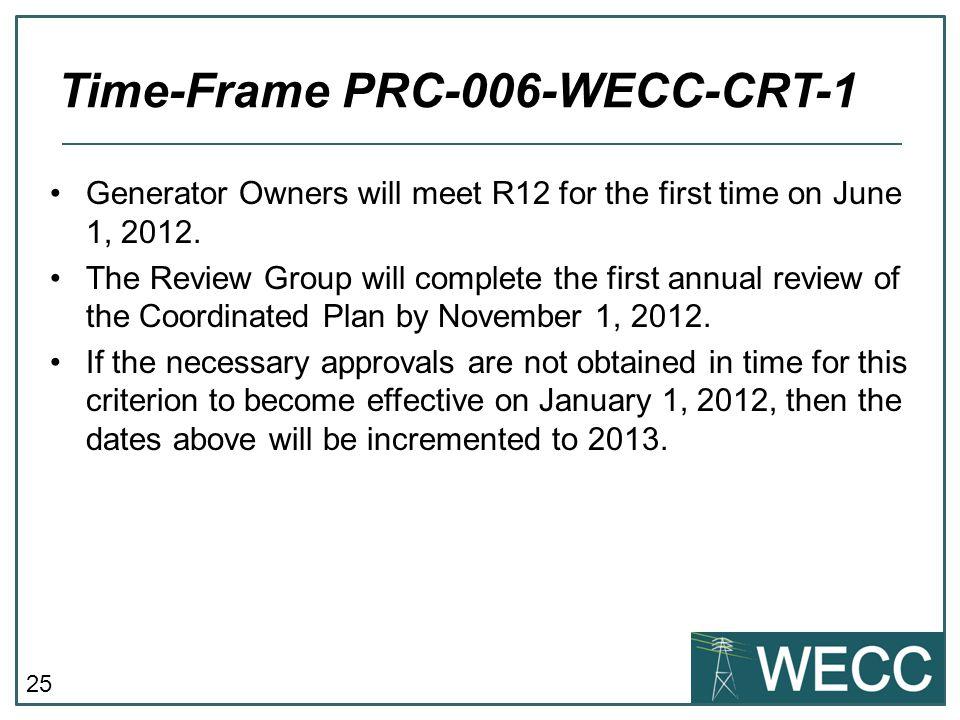 Time-Frame PRC-006-WECC-CRT-1