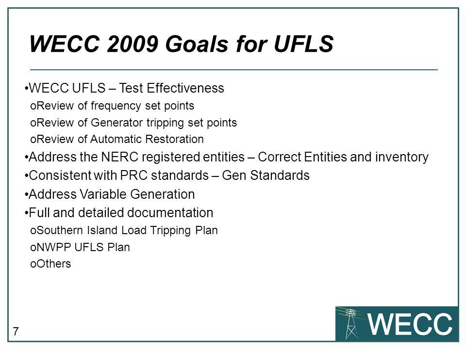 WECC 2009 Goals for UFLS WECC UFLS – Test Effectiveness