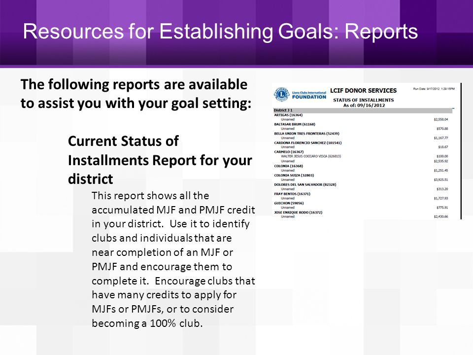Resources for Establishing Goals: Reports