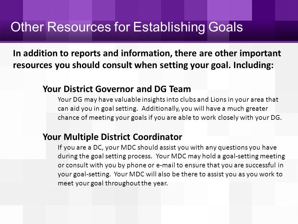 Other Resources for Establishing Goals
