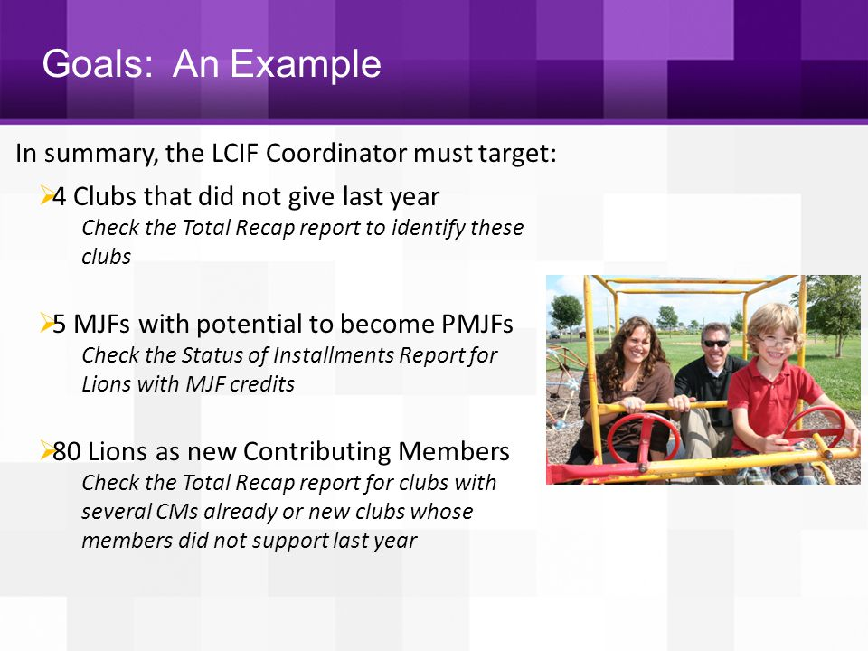 Goals: An Example In summary, the LCIF Coordinator must target: