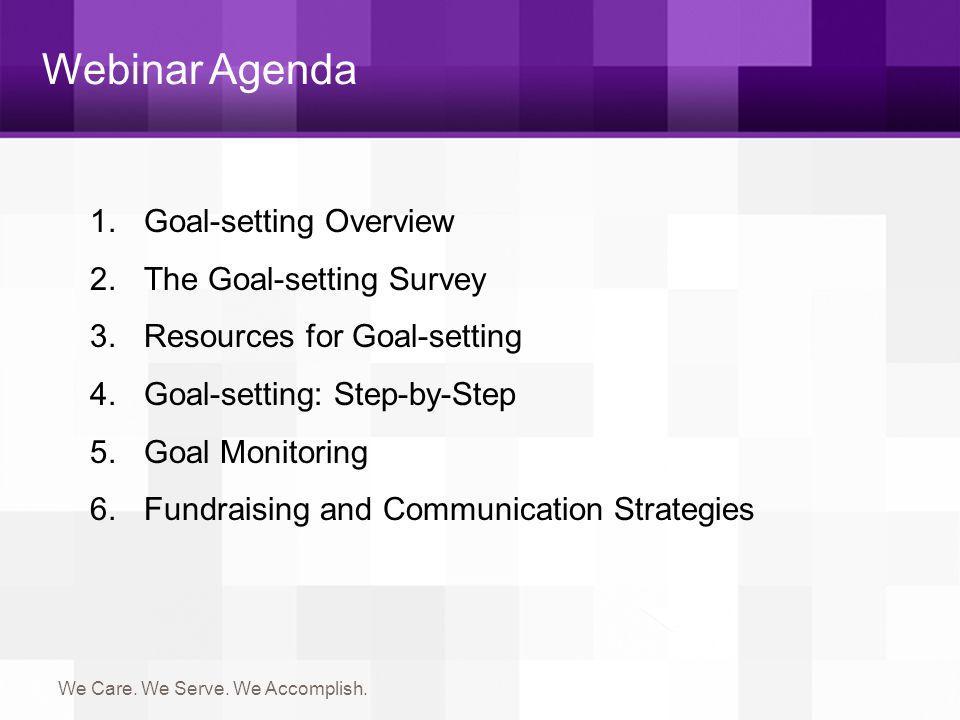 Webinar Agenda Goal-setting Overview The Goal-setting Survey