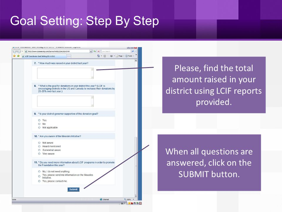 When all questions are answered, click on the SUBMIT button.