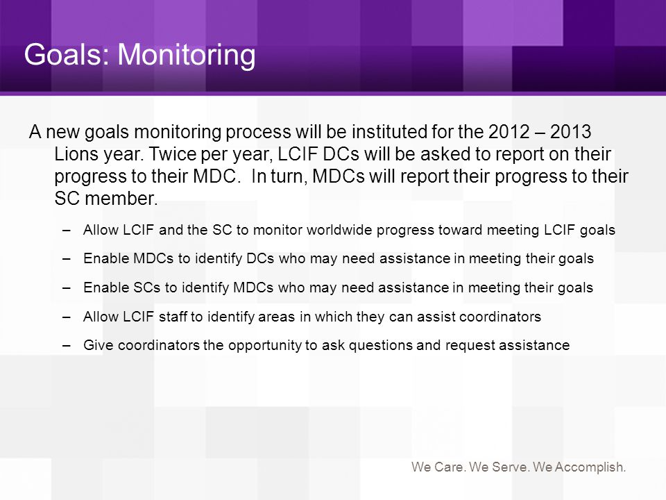 Goals: Monitoring
