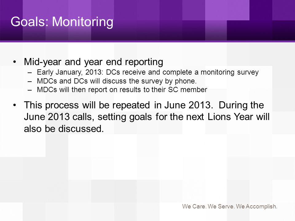 Goals: Monitoring Mid-year and year end reporting