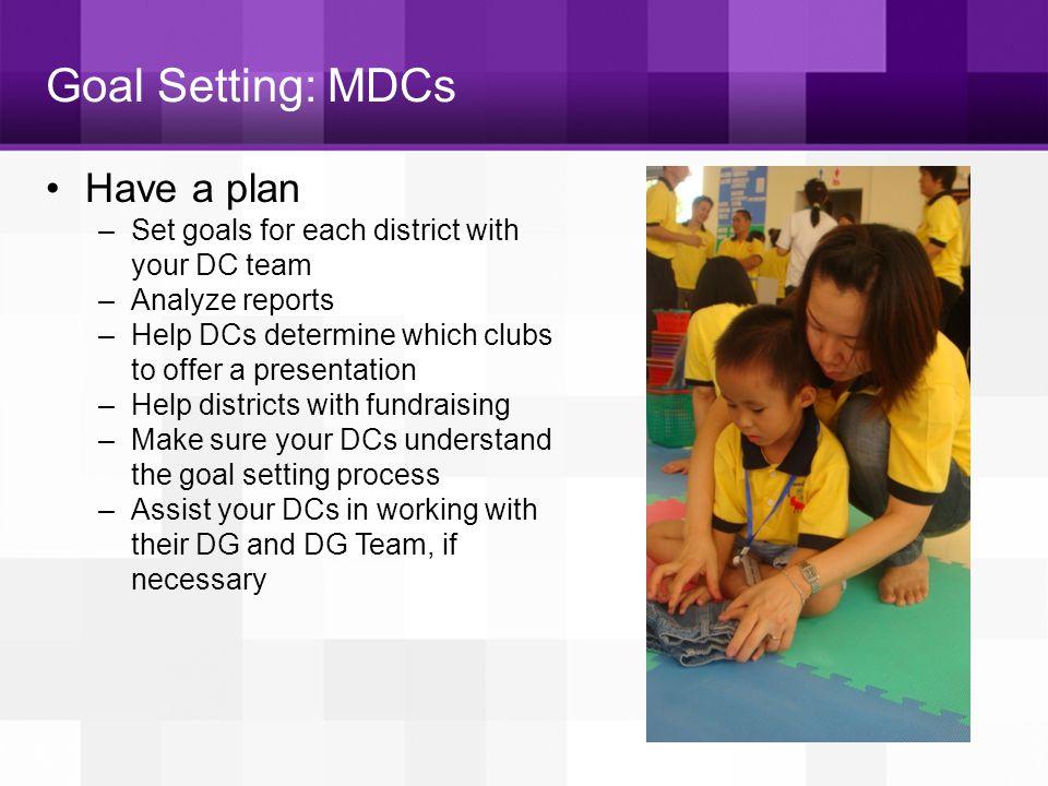 Goal Setting: MDCs Have a plan