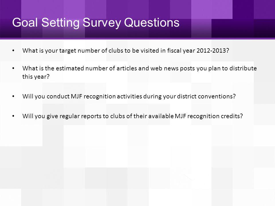 Goal Setting Survey Questions