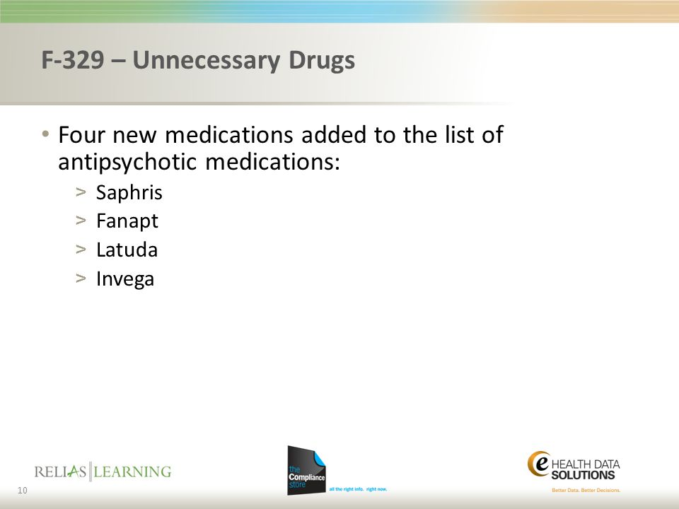F-329 – Unnecessary Drugs Four new medications added to the list of antipsychotic medications: Saphris.