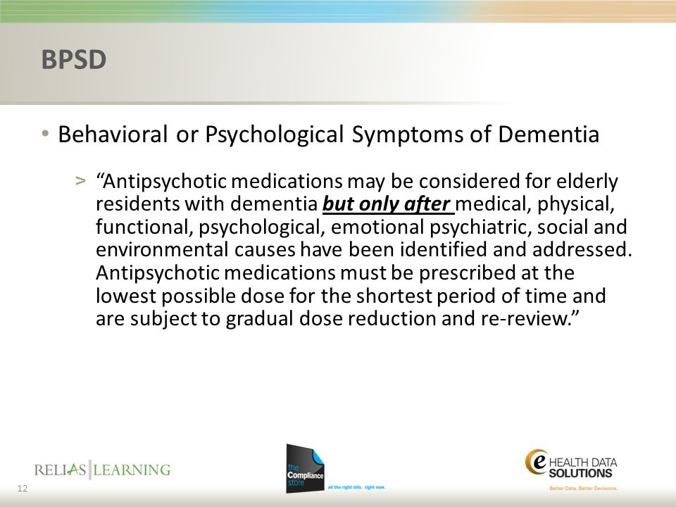 BPSD Behavioral or Psychological Symptoms of Dementia