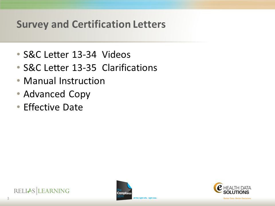 Survey and Certification Letters