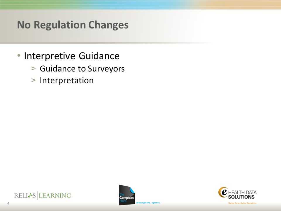 No Regulation Changes Interpretive Guidance Guidance to Surveyors