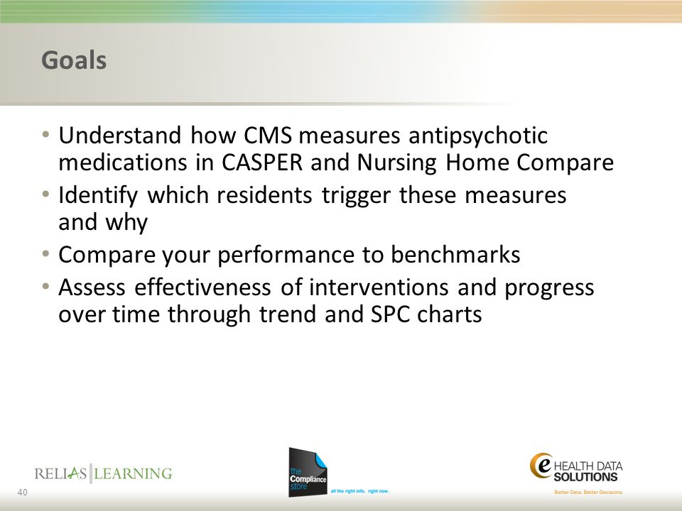 Goals Understand how CMS measures antipsychotic medications in CASPER and Nursing Home Compare.
