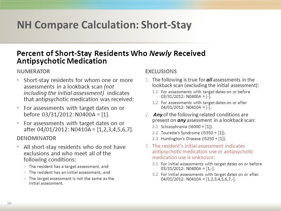 NH Compare Calculation: Short-Stay