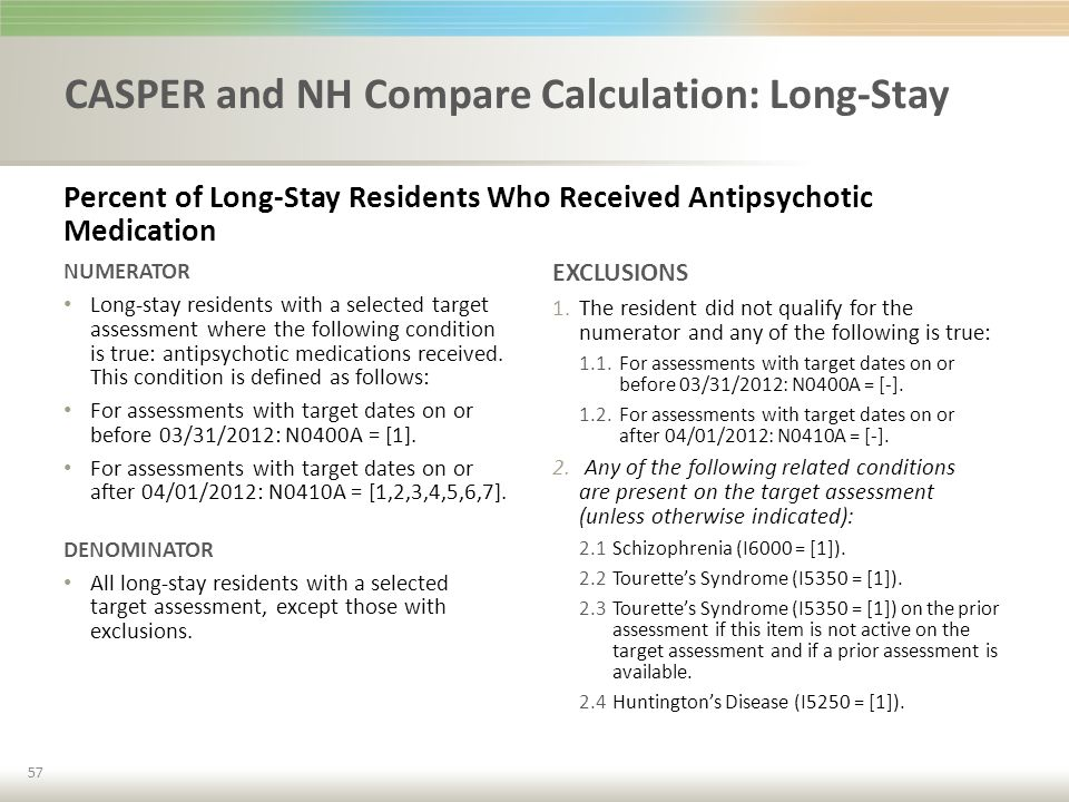 CASPER and NH Compare Calculation: Long-Stay