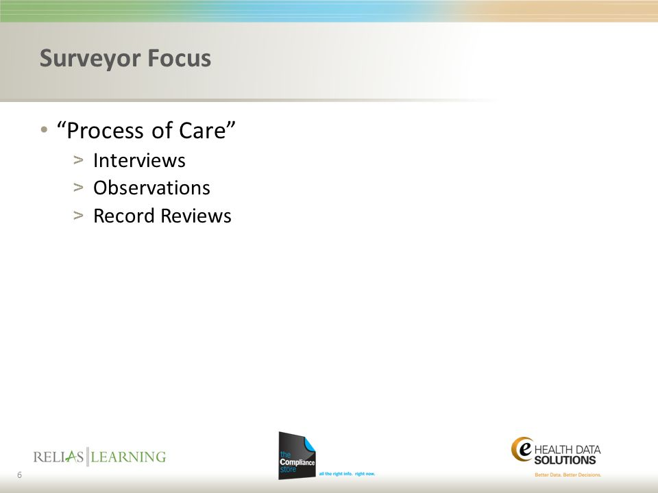 Surveyor Focus Process of Care Interviews Observations