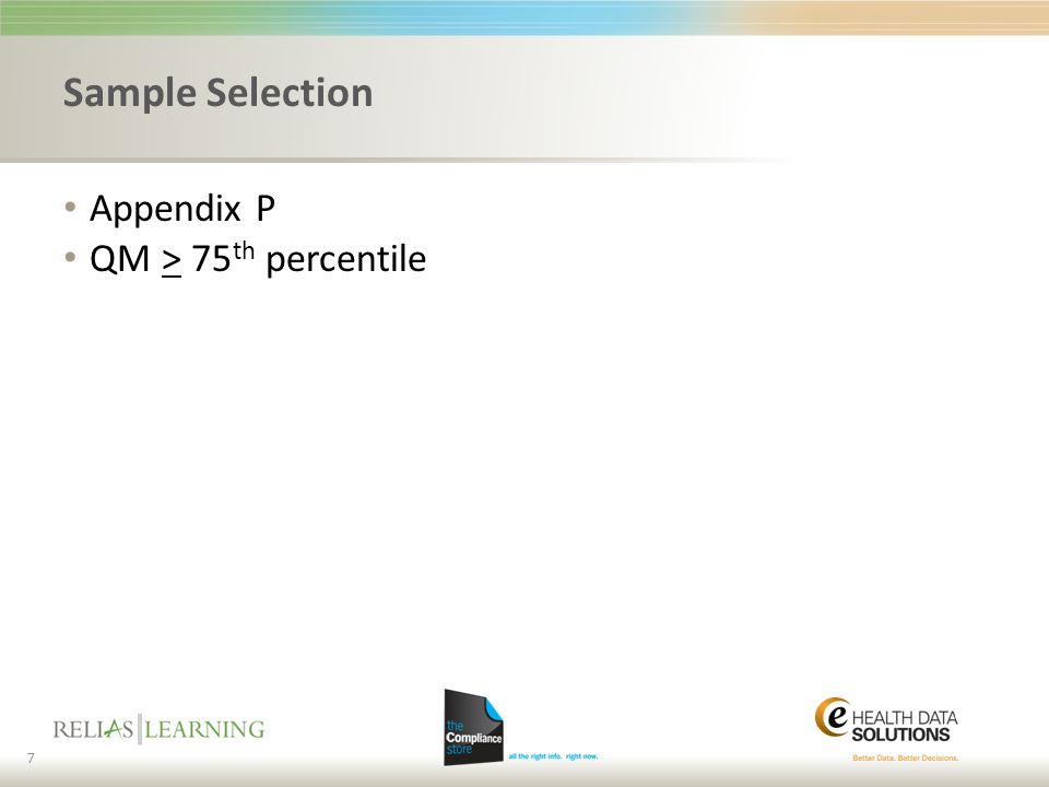 Sample Selection Appendix P QM > 75th percentile