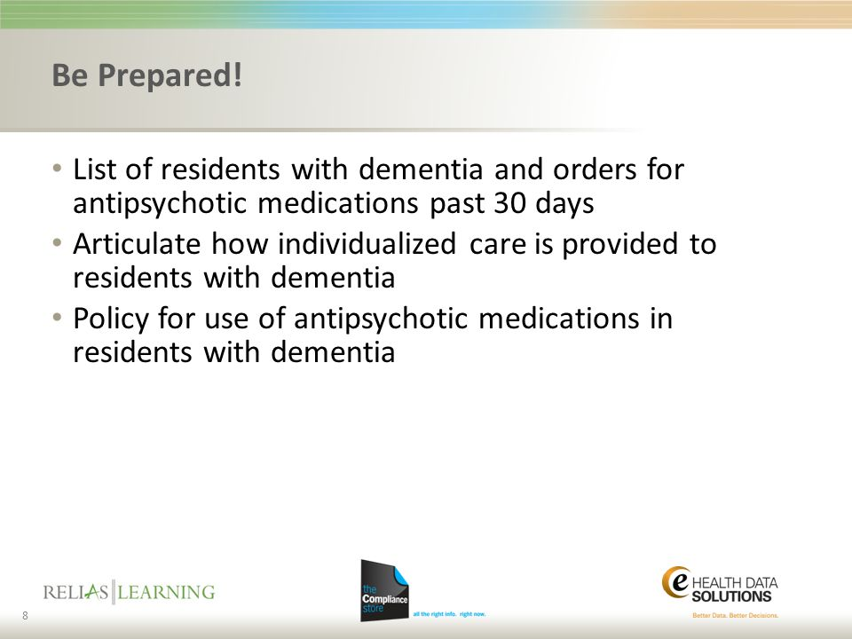 Be Prepared! List of residents with dementia and orders for antipsychotic medications past 30 days.