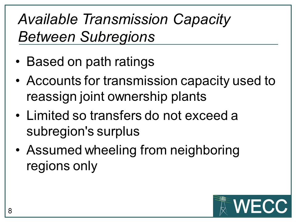 Available Transmission Capacity Between Subregions