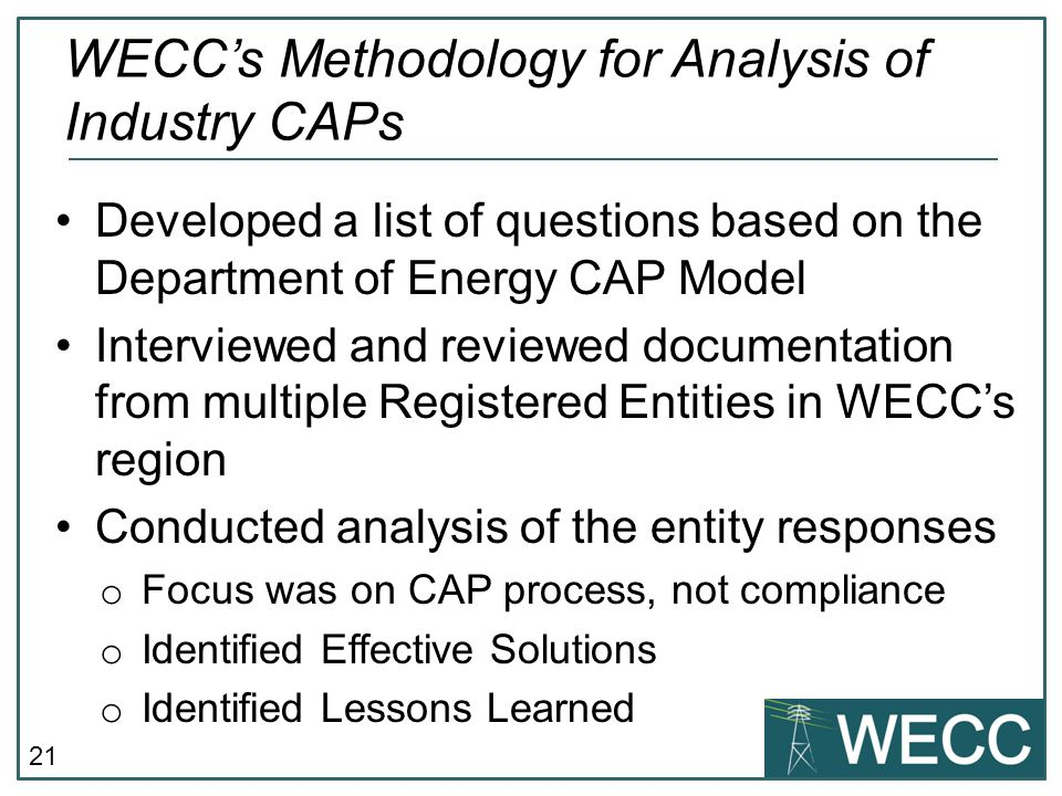 WECC's Methodology for Analysis of Industry CAPs