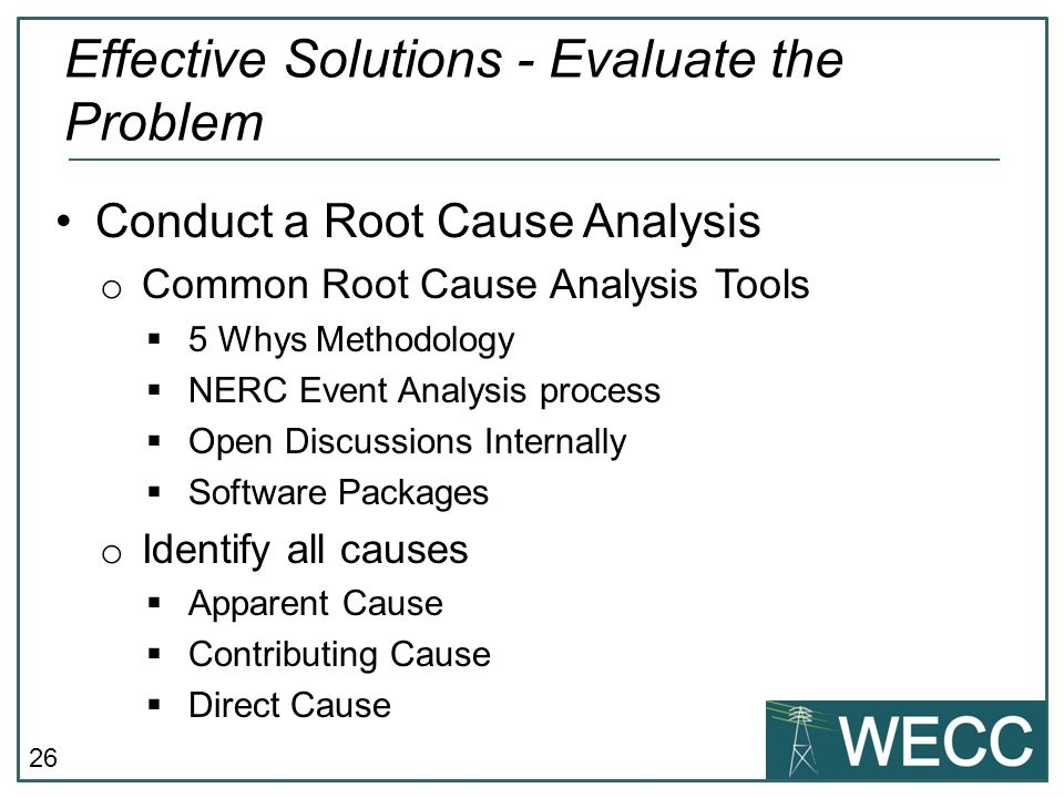Effective Solutions - Evaluate the Problem
