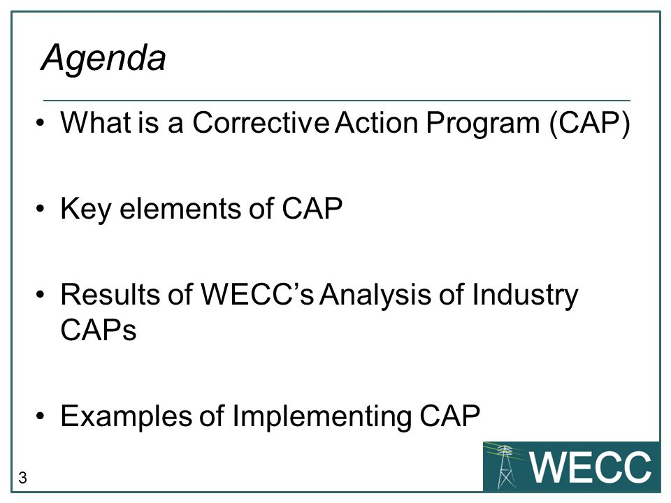 Agenda What is a Corrective Action Program (CAP) Key elements of CAP
