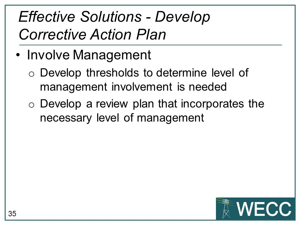 Effective Solutions - Develop Corrective Action Plan